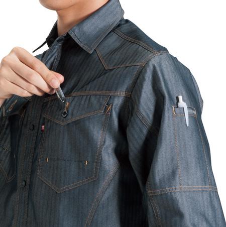 左胸ペンさし付ポケット