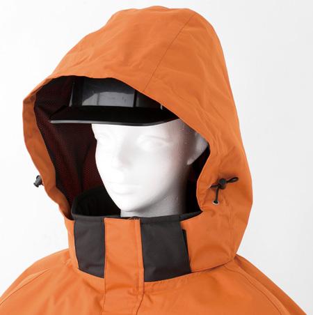 ヘルメット着用対応フード