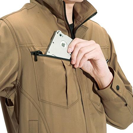 ファスナー付、胸ポケット