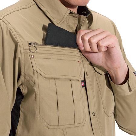 中身が落ちない、ファスナー付き大型ポケット