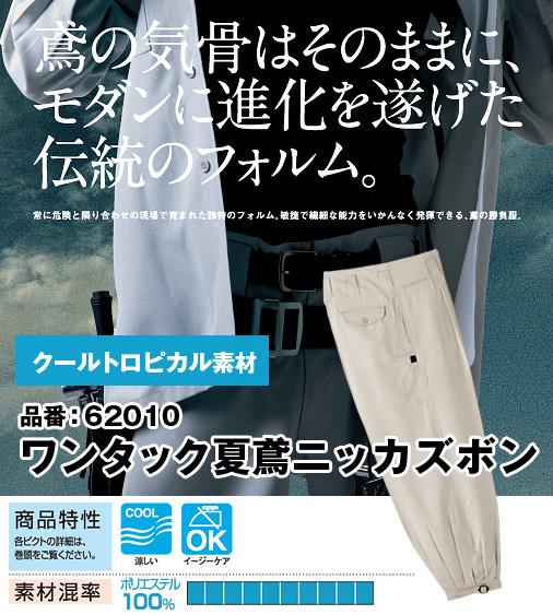 桑和 62010 SOWA ポリ100% クールトロピカル素材 ワンタック夏鳶ニッカズボン 73〜110【春夏用】