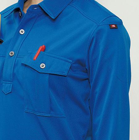 左胸ポケット、ペンさし(半袖707・長袖705共通)