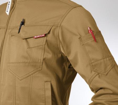 左:胸ペンさし/左:袖ペンポケット