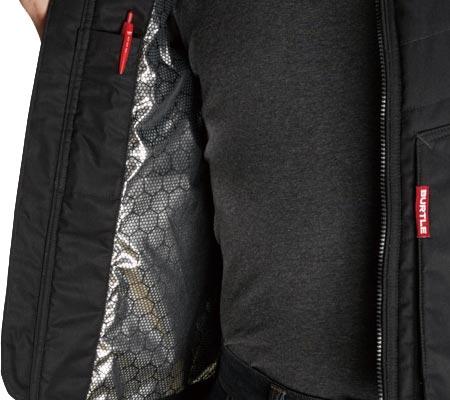 アルミフィルムラミネート加工/右:内ペンポケット/両脇:ウォームアップポケット