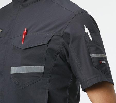 胸ペン差し(左)/袖ダブルペンポケット(左)
