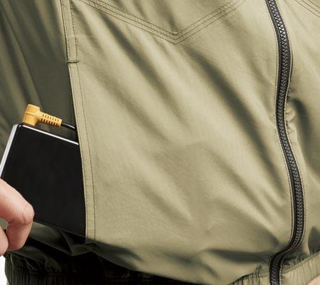 バッテリー収納ポケット(右・マジックテープ止め)