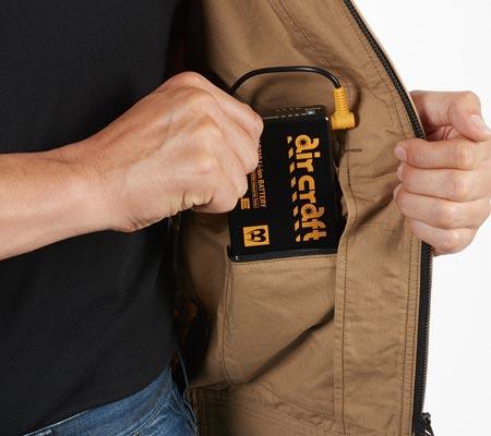 内バッテリーポケット(左・ファスナ止め)