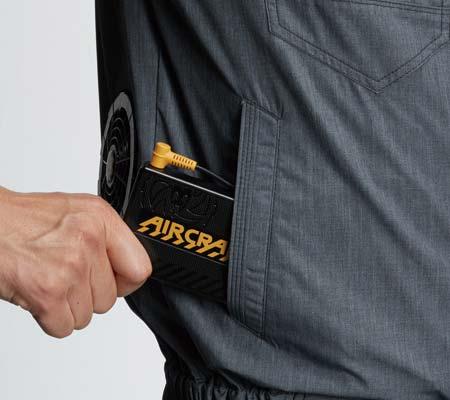 バッテリー収納ポケット(右マジックテープ止め)*特許取得済