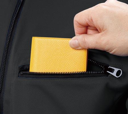 左胸大型ファスナー付きポケット
