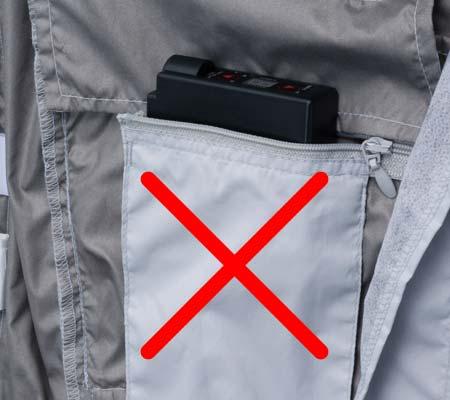 ファスナー付きバッテリーポケット(こちらのポケットはご利用できなくなります)