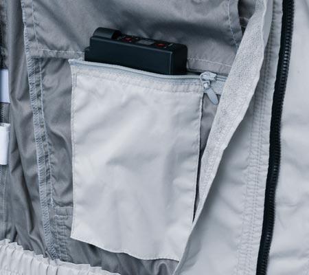 ファスナー付きバッテリーポケット